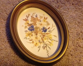 Vintage Tiny Dried Flowers Inside A Gold Frame