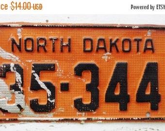 ON SALE 1950, North Dakota, License Plate, Embossed, Car, Truck, Auto, Orange, Black, Supplies, Destash, Numbers, Letters, Aluminum, Vintage