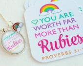 you are worth far more than rubies proverbs 31.10 / set of 6 journaling / bible journaling cards