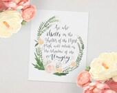 Psalm 91 // Dwell Floral Wreath, Original Scripture Art Print, Bible Verse Handlettered  Calligraphy Home Decor Nursery // 5 x 7, 8 x 10