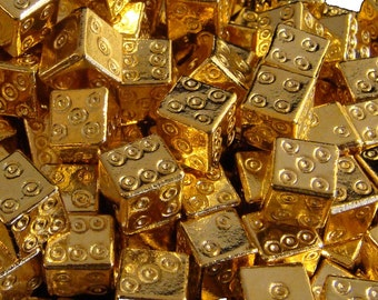 ROMAN DICE: Reproduction of Actual Roman Die from 300 AD 24K Gold Plate (1 Set 2 Dice)