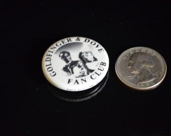 """Vintage James Bond Goldfinger & Dove Fan Club Promotional Button 1.25"""""""