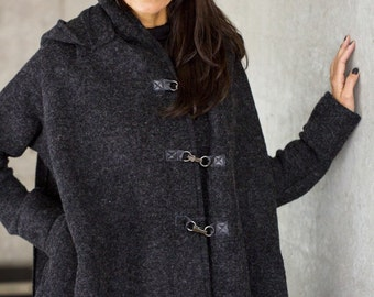 NEW Winter Extra Warm Qilted Winter Asymmetric Extravagant Grey Hooded Coat/ Wool  Blend by AAKASHA A07281