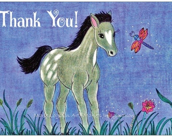 Horse / Dragonfly Thank You Cards Greeting Cards - Note Cards with White Envelopes.