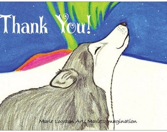 Alaskan Wolf /Northern Lights Thank You Cards - Greeting Cards - Note Cards. Includes White Envelopes. Blank Inside.