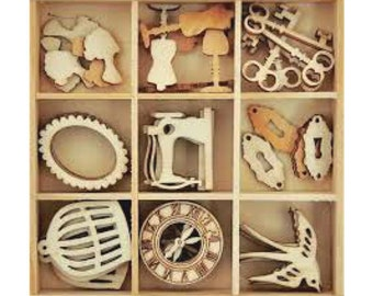 Wood Die Cuts - Laser Cut - Embellishments - Kaisercraft - Antiques - Wooden Box - 45 pieces - Keys - Sewing - Clocks - Birds - Cages