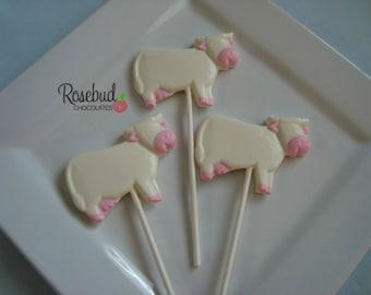 12 Vanilla White Chocolate Cow Lollipop Favors Farm Barnyard Birthday Party Candy