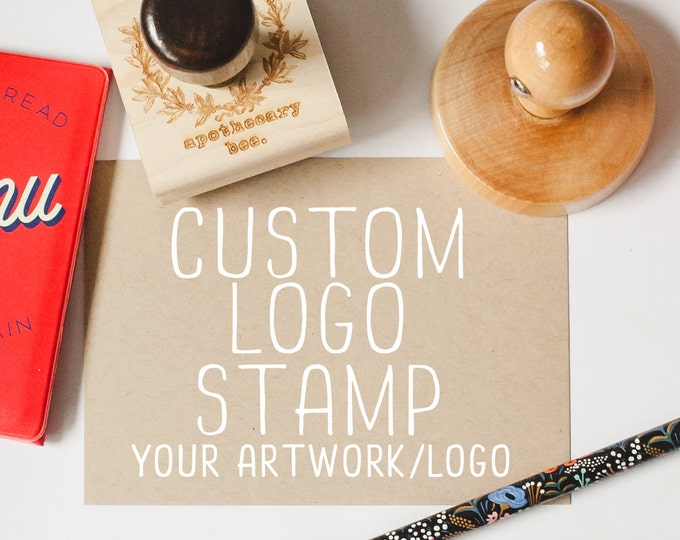 Featured listing image: Custom Stamp for Business, Logo Stamp, Shop Stamp, Business Stamp, Business Brand Rubber Stamp Style - Your Logo or Artwork