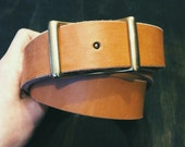 "SALE // 1.25"" Natural Conway Leather Belt  for Men and Women"