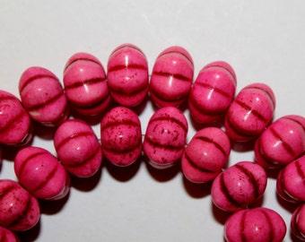 Pink Pumpkin Turquoise Beads