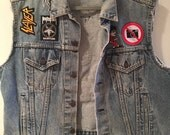 SALE** NEW** Levi's Vintage Denim vest with new and vintage patches