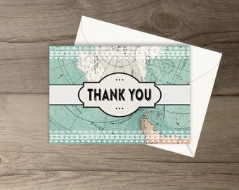 Instant Download Travel Thank You Cards / Matching Travel Themed Baby Shower Invitations