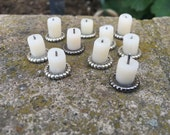 Melted Candle on Antique Silver Charger - Dollhouse Miniatures (C24)
