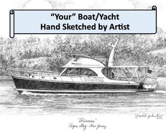 Custom Boat/Yacht Sketch-99 & up 5x7 Graphite Pencil Original Home House Your My Boat Sketch Drawing Personalized Boat Note Cards Christmas
