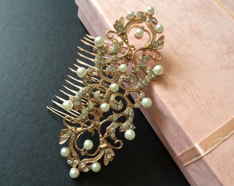 Rose gold, Victorian rose gold wedding hair comb, Bridal hair comb, Barrette clip, Vintage brooch, Silver vintage style hair accessory