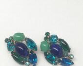 Vintage GORGEOUS Jewel-tone Clip Earrings