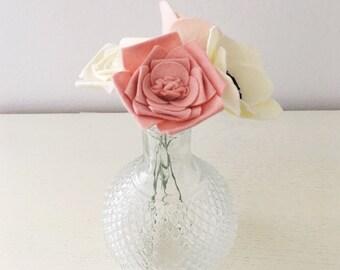 Set of 4 Felt Flower Stems    Build Your Own Felt Flower Bouquet    Felt Flowers    Flower Stems    Wedding Flowers    Wedding Bouquet