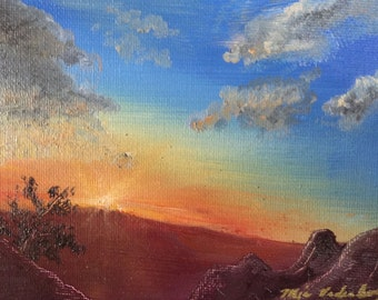 Sunrise on Happiness- Original Oil Painting Landscape Painting by Mia Vredenburg, 5x7