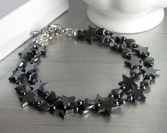 Haematite Star Bracelet, Haematite Heart Jewellery, Star and Heart Bracelet, Semi Precious Stone, Black Gemstone Jewellery