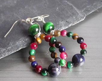 Tiger Eye Earrings, Hoop Earrings, Natural Stone Jewellery, Multi Colour Gemstone Earrings, 925 Sterling Silver Boho Style Jewellery,