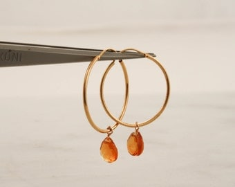 Citrine Dangle Hoop Earrings in 14K Gold