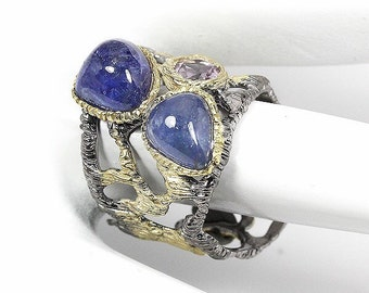 Handmade Fine Art Natural Tanzanite 925 Sterling Silver Ring Size 10