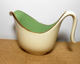 Vintage Creamer, Green, Syrup Pitcher, Sauce Boat, French Country, Gravy Boat