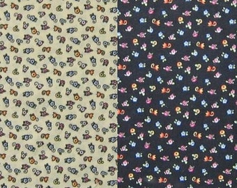 3 pieces of two of Mary Engelbreit OOP fabrics - one small egg flowers on light yellow and two on black