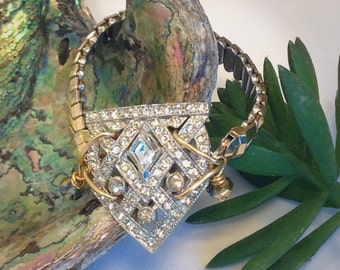 Sparkly Rhinestone 2-Tone Gold Bracelet Upcycled 30s Dress Clip Repurposed Vintage Expandable Watch Band SMALL Hand Made in USA WishAnWear