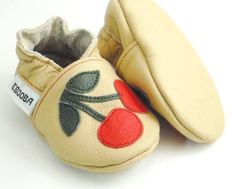 soft sole baby shoes infant handmade cherry red beige 12 18 Krabbelschuhe Lederpuschen chaussons chaussurese garçon fille ebooba CH-7-BE-M-3