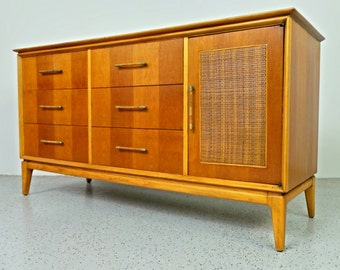 mid century modern Century Furniture walnut oak triple dresser credenza