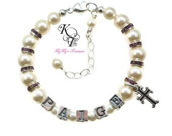Christening Bracelet, Baby Bracelet, Baptism Gift, Personalized Baptism Gift, Personalized Baby Gift, Baby Gift, Confirmation Gift