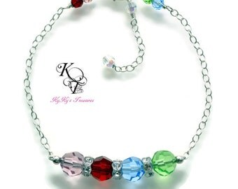 Mothers Bracelet, Birthstone Bracelet, Sterling Silver Bracelet, Adjustable Bracelet, Christmas Gift, Mothers Day Gift, Birthstone Jewelry