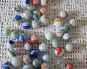 Vintage 50 white, multicolored beads #8