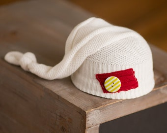 Newborn Christmas Hat Upcycled Hat Cream Red Patch Green Striped Button READY TO SHIP Newborn Christmas Photography Prop Newborn Boy Hat