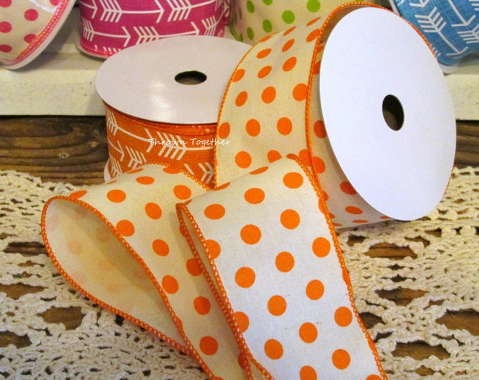 "Orange Polka Dot Print Ribbon, 2 1/2"" Wired Ribbon 5yd, Orange Cream Ribbon, Orange Dot Ribbon, Wired Wreath Ribbon, 2.5inch Craft Ribbon"