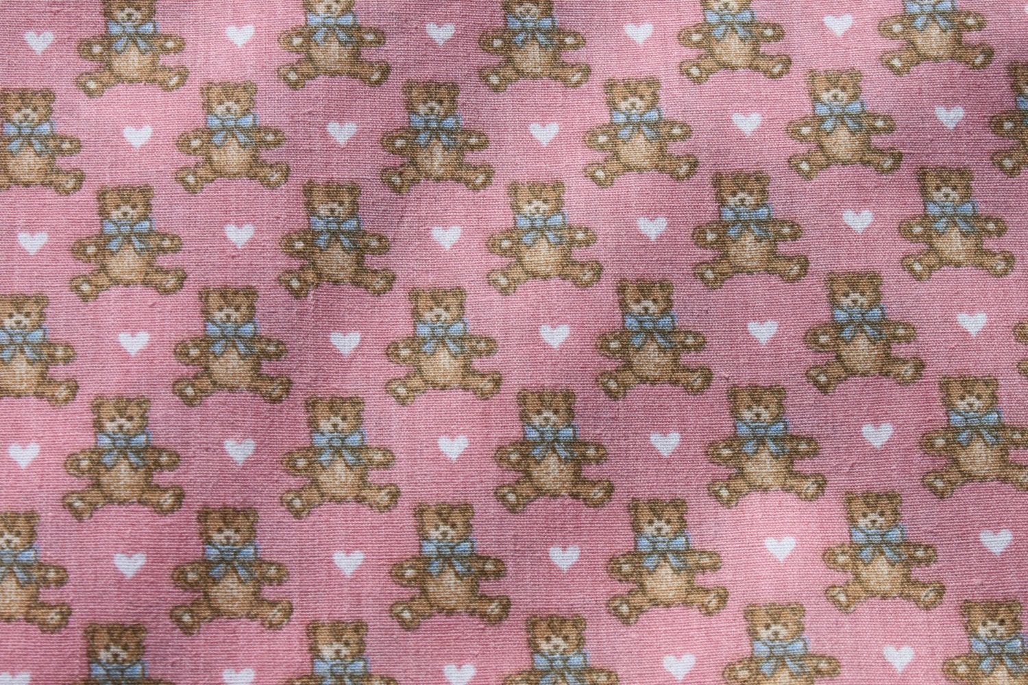 Vintage small print pink teddy bear cotton fabric by the for Kids fabric by the yard