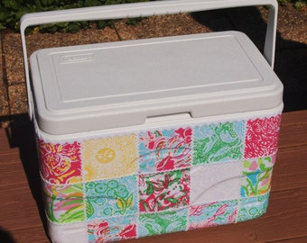 Custom Made, Lilly Pulitzer Patch Work Fabric Covered Large 28 quart Marine Cooler with Optional Monogram !