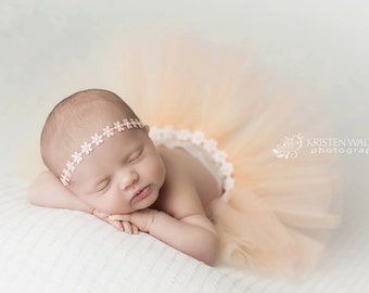 Soft peach flower wrap headband with tutu, infant photography, baby girls accessories, pearl head wrap, photo prop, vintage headband, girls