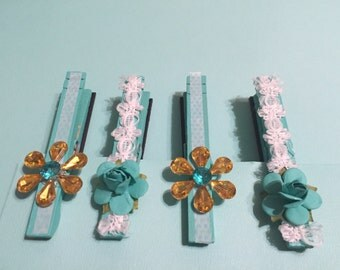 Teal decorative magnetic clothes pins