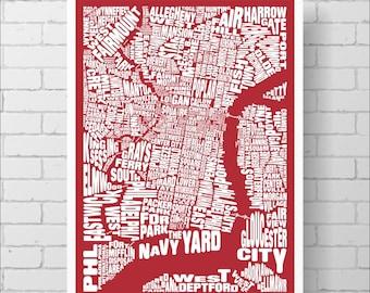 Philadelphia Neighborhoods Map Print - Custom Philadelphia Typography Map with Landmarks, Various Colors, Type Map Art Print Poster