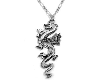 Large Pewter Dragon Pendant on a Silver Toned Figaro Chain Necklace-5519