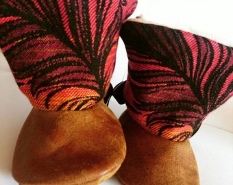 Real Leather and Wrap Scrap Booties- Size 0-6 months