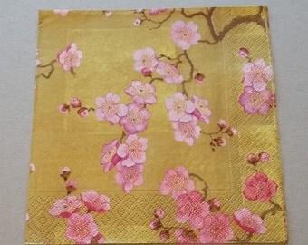 Decoupage Paper Napkin GOLDEN with JAPONESE FLOWERS (Serviett Serviet Serviette Lautasliina Servett Servet Tovagliolo Servilleta Guardanapo)
