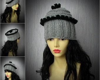 Parisian style, Kniited Beanie Hat, Knit Hat for Women, french chic, Knit Women Bonnet Head Wear, Full Bonnet Hats