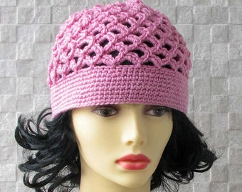 Summer Women Hat Hat Beanie Hat Womens BEANIE hat for Kundalini sadhana Kufi hat Crochet Cotton hat Skullcap scalloped