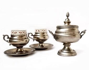 SALE Vintage Coffee Serving Set , Espresso Serving Set for two , Italian espresso cups ,vintage retrò tableware.