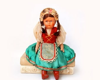 SALE Antique Celluloid Face Doll ,Polish Doll 1940's ,Collectible Rare Doll, ethnic poland doll traditional folk dress .