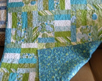 Blue and Green Baby and/or Toddler Quilt