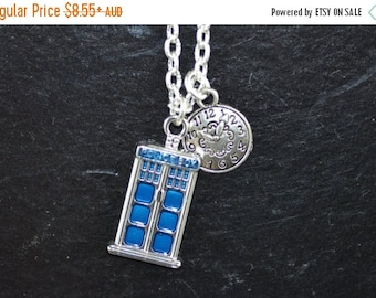 SALE Time Lord Necklace, Tardis, Dr Who, Doctor Who, clock, ND027, Whovian